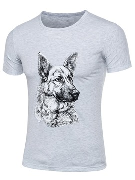 Ericdress Dog Print Cotton Blends Short Sleeve Men's T-Shirt