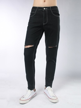 Ericdress Denim Holes Casual Pencil Men's Pants
