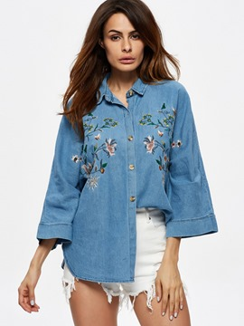 Ericdress Loose Flower Embroidery Blouse