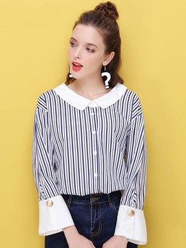 Ericdress Color Block Stripped Peter Pan Blouse