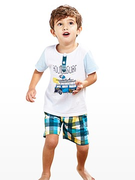 Ericdress Cartoon T-shirt Plaid Shorts Boys Suit
