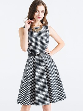 Ericdress Plaid Sleeveless Expansion A Line Dress