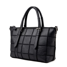 Ericdress Black Plaid Patchwork Handbag