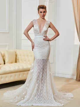 Ericdress Sexy Lace Mermaid Backless Wedding Dress
