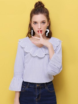 Ericdress Stripped Peter Pan Collar Trumpet Blouse