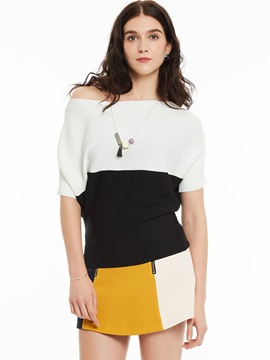 Ericdress Color Block Oblique Knitwear