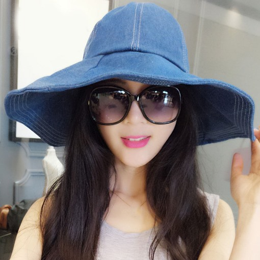Ericdress Trendy Wide Brim Solid Color Denim Sun Hat