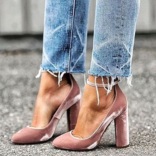 Ericdress Pink Point Toe Ankle Strap Prom Shoes