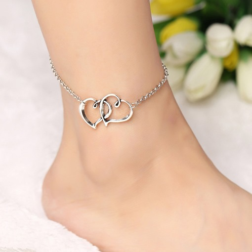 Ericdress Double Heart-Shaped Design Chain Anklet