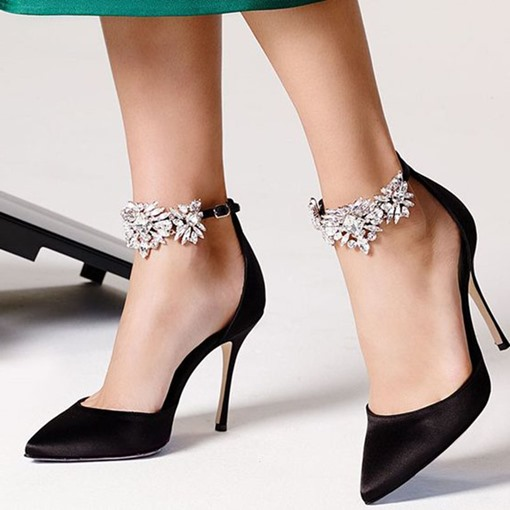 Ericdress Line-Style Buckle Rhinestone Pointed Toe 10cm Thin Women's Shoes