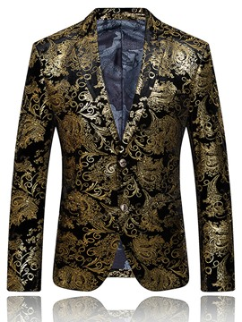 Ericdress Printed Single-Breasted Color Block Men's Casual Blazer