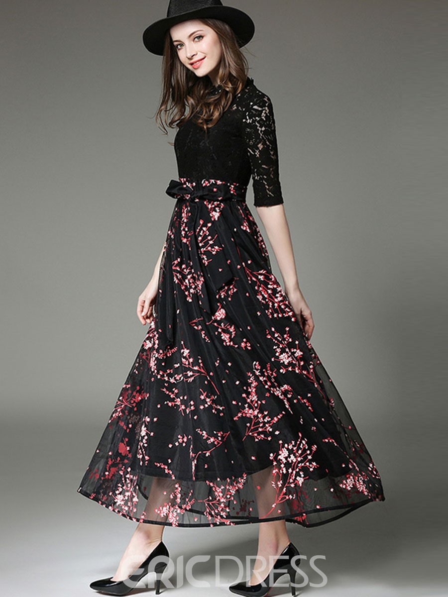 Ericdress Floral Print Stand Collar Bowknot Maxi Dress