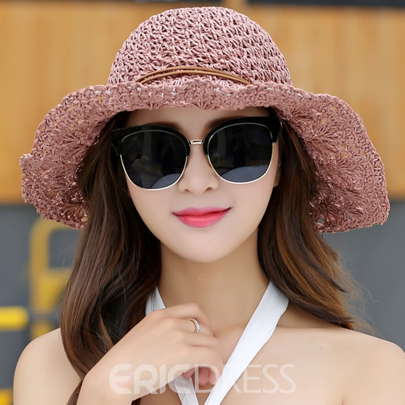 Ericdress Straw Summer Pure Color Hollow Sun Hat