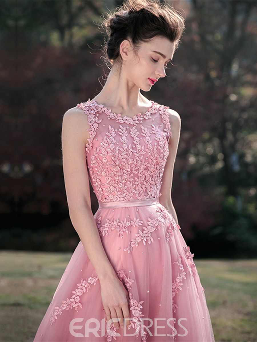 Ericdress A Line Scoop Neck Lace Applique Lace-Up Back Prom Dress