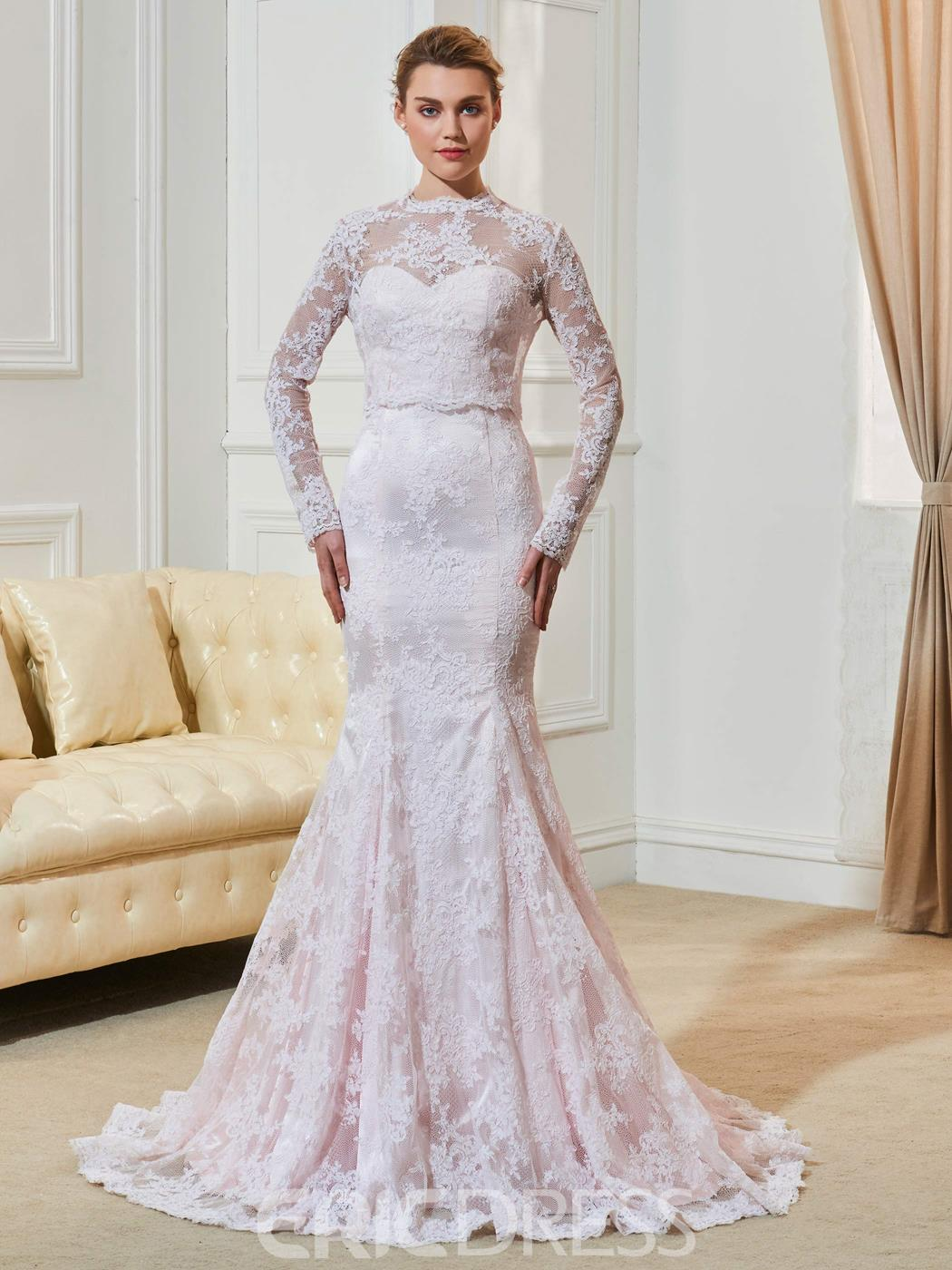 Ericdress fancy lace mermaid long sleeves pink wedding dress junglespirit Images