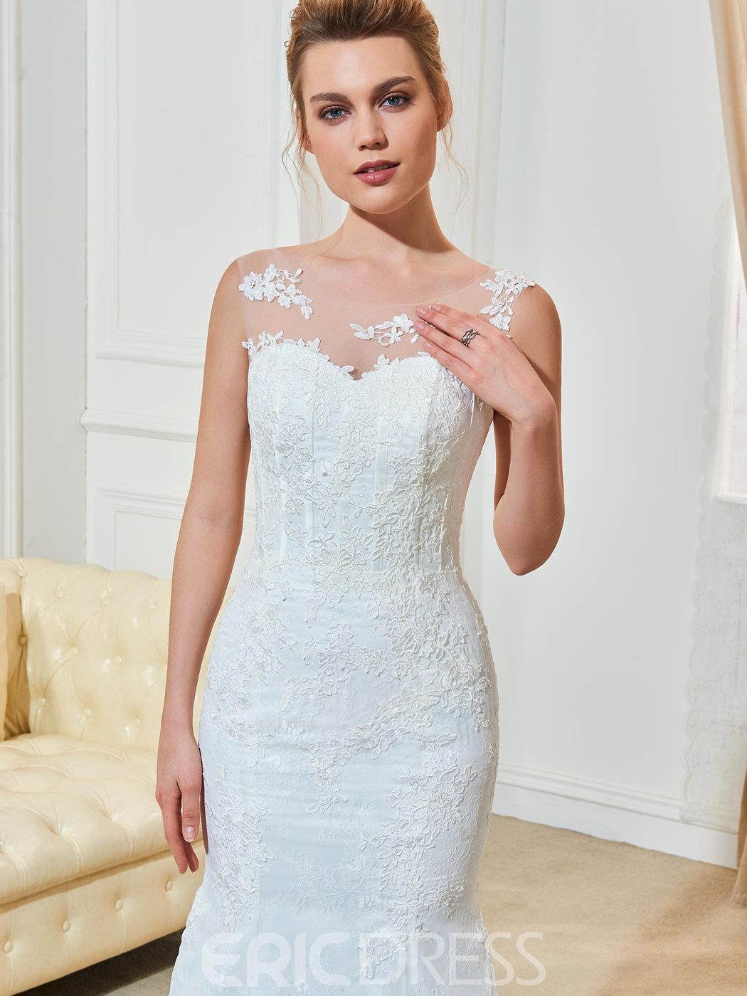 Ericdress Scoop Mermaid Lace Appliques Wedding Dress