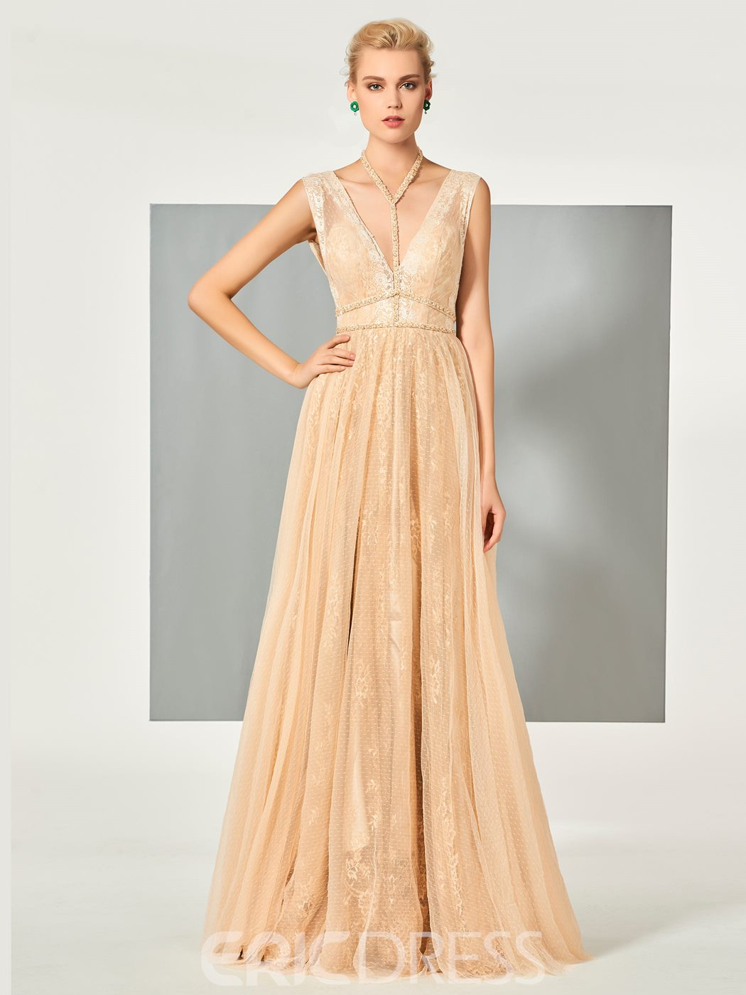 Ericdress Stylish A Line V Neck Backless Floor Length Long Evening Dress