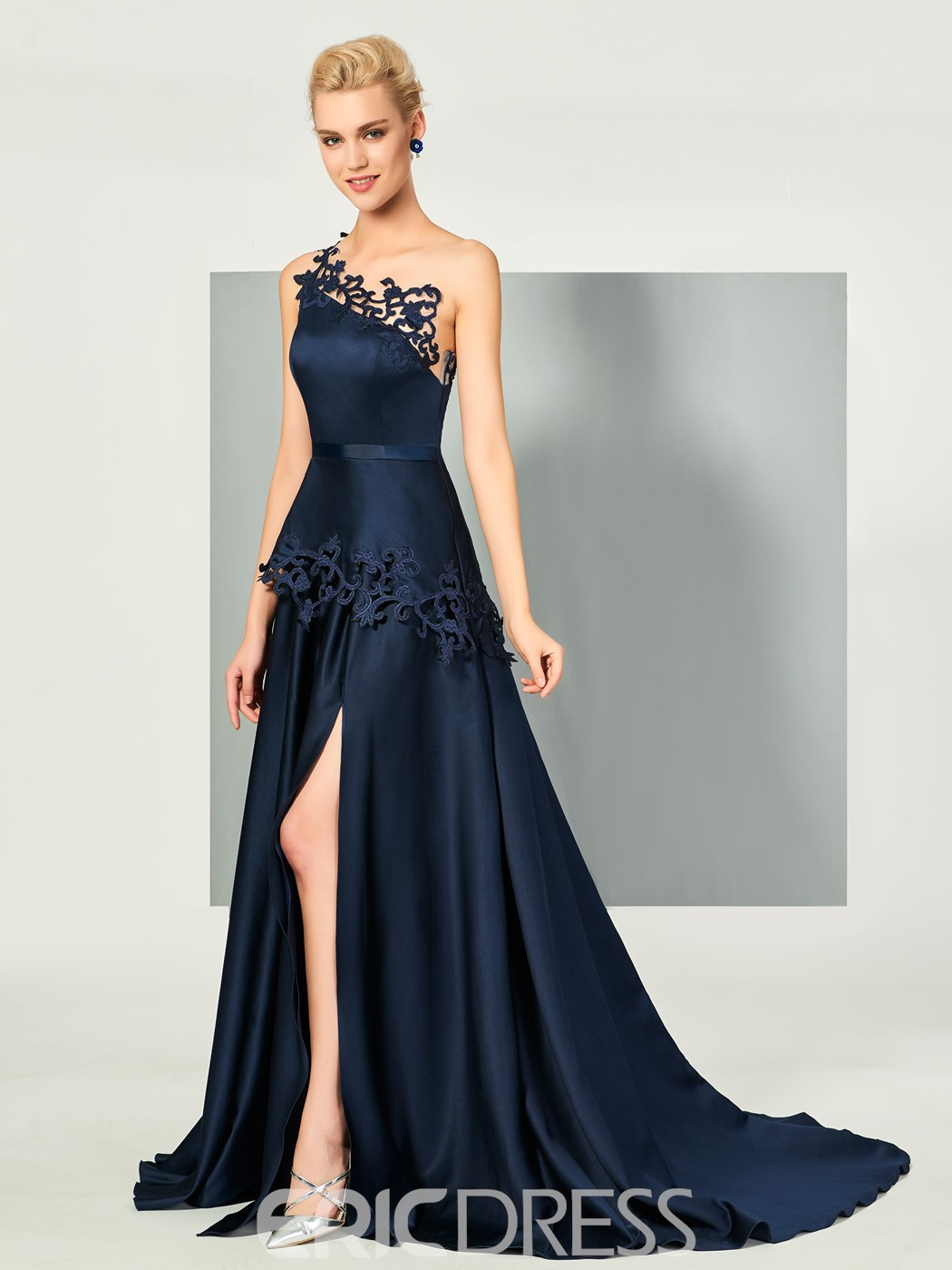 Ericdress A Line One Shoulder Lace Side Slit Long Evening Dress with Sweep Train