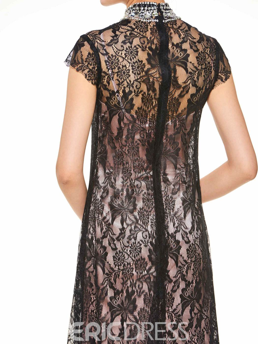 Ericdress Elegant High Neck Beaded Lace A Line Mother Of The Bride Dress