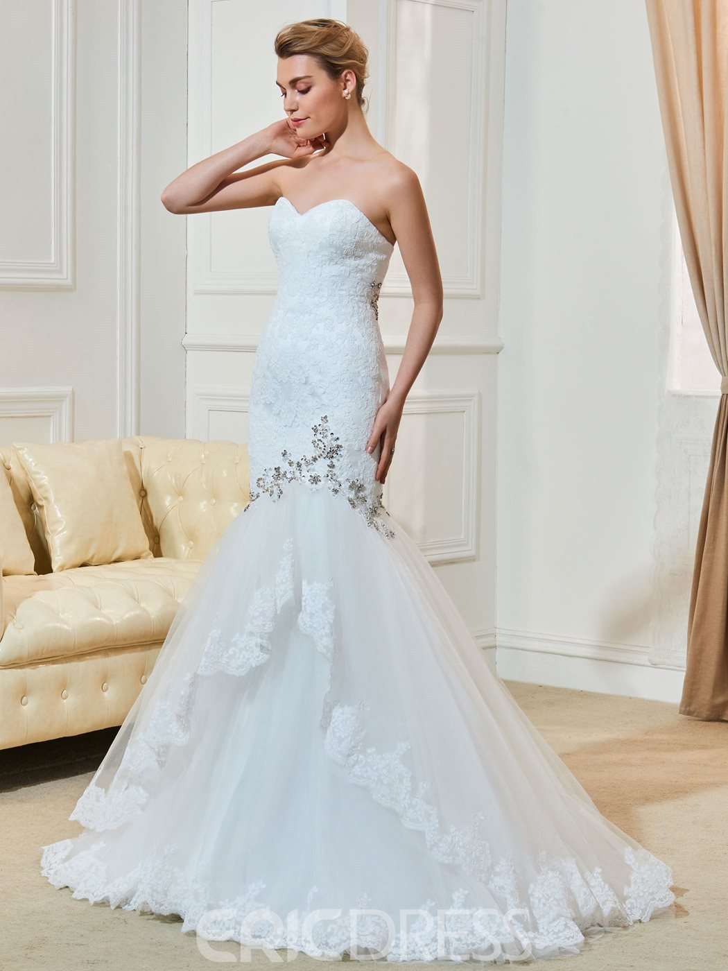 Ericdress Charming Beaded Sweetheart Lace Mermaid Wedding Dress