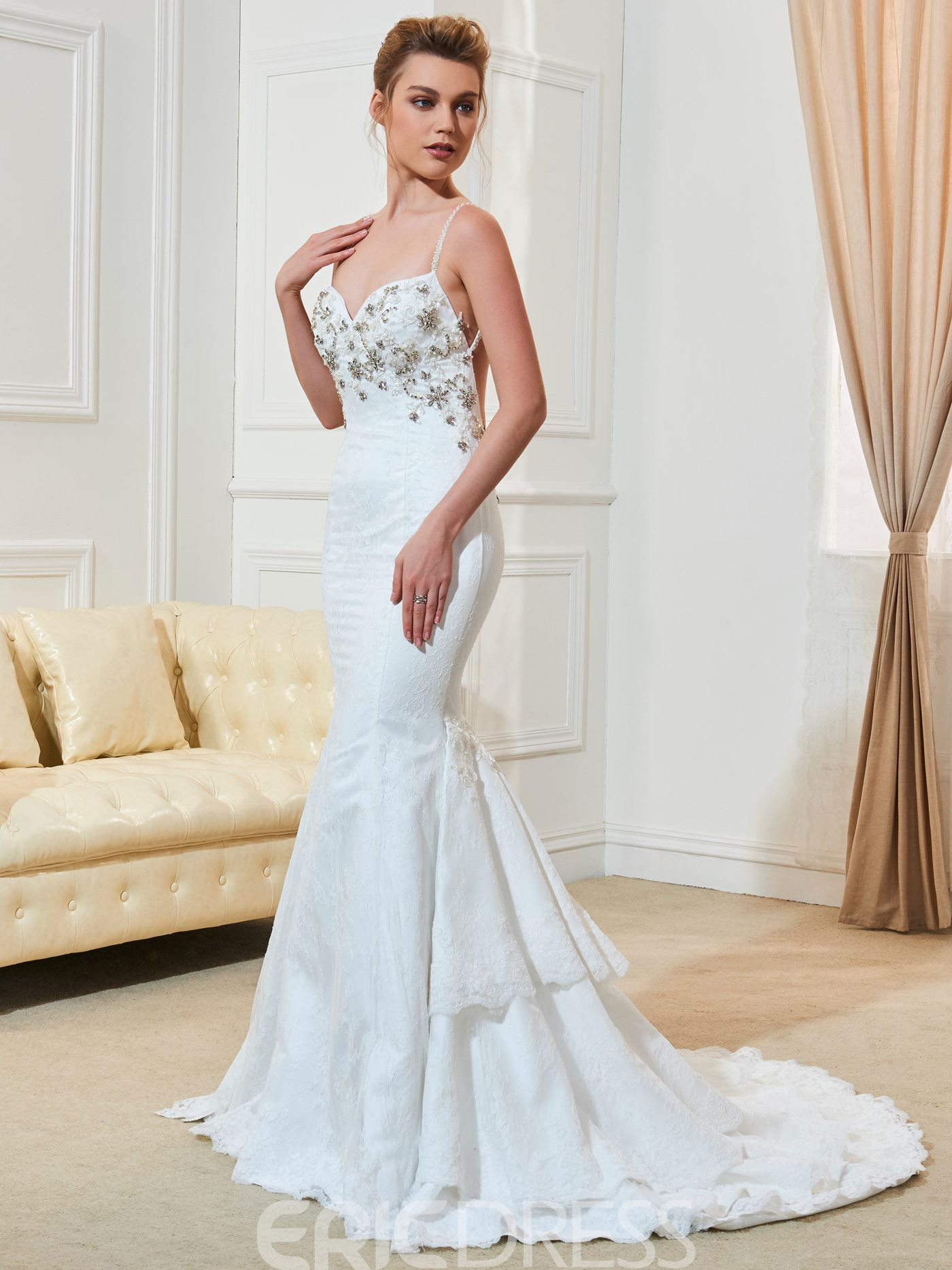 Ericdress Sexy Spaghetti Straps Beaded Backless Mermaid Lace Wedding Dress
