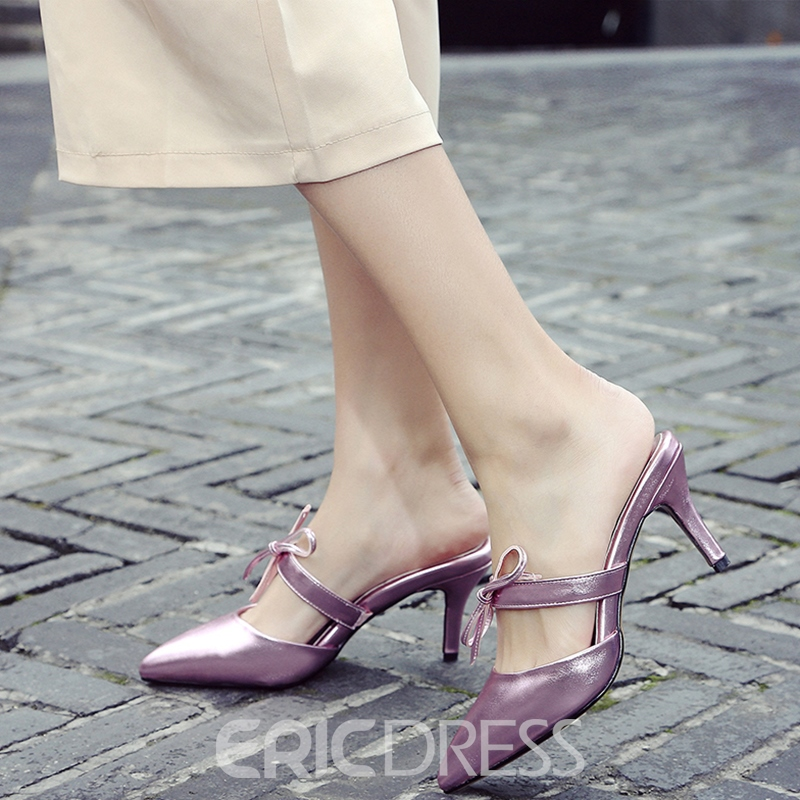 Ericdress Pretty Bowtie Point Toe Mules Shoes