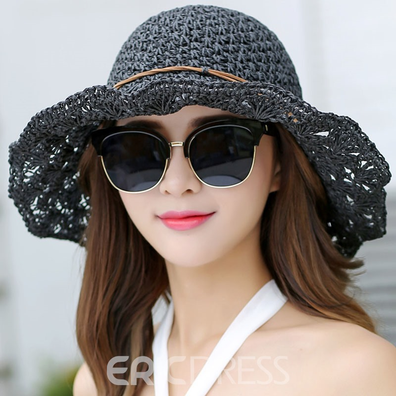 Ericdress Straw Plaited Article Pure Color Hollow Foldable Hat