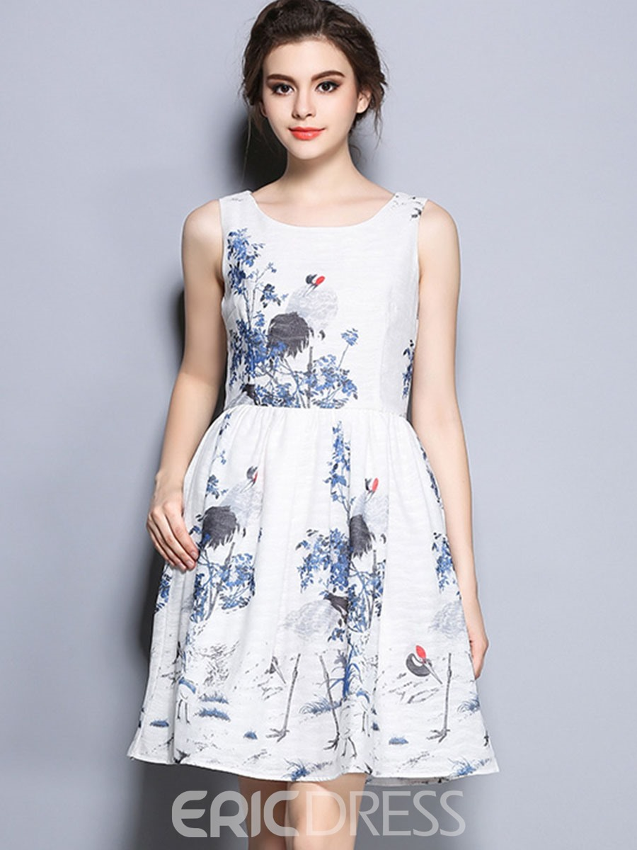 Ericdress Ink Painting High-Waist Spaghetti Strap Casual Dress