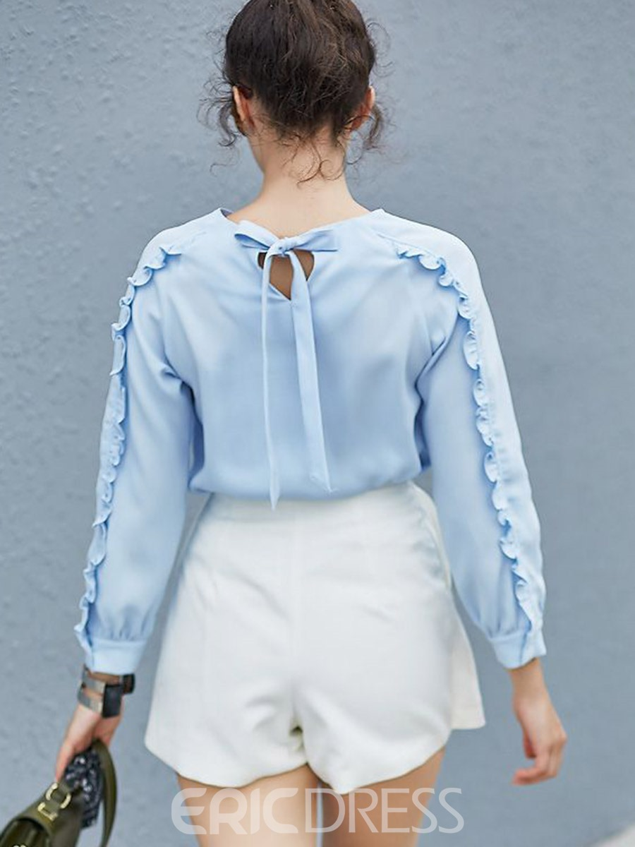 Ericdress Tie Back Blue Blouse