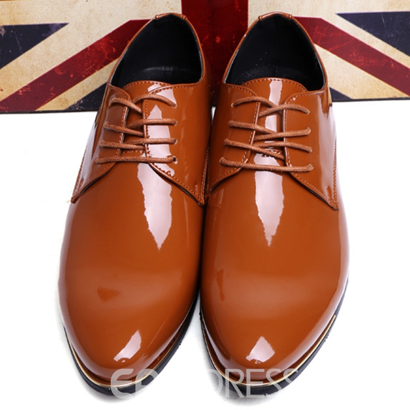 Ericdress Patent Leather Lace up Point Toe Men's Oxfords