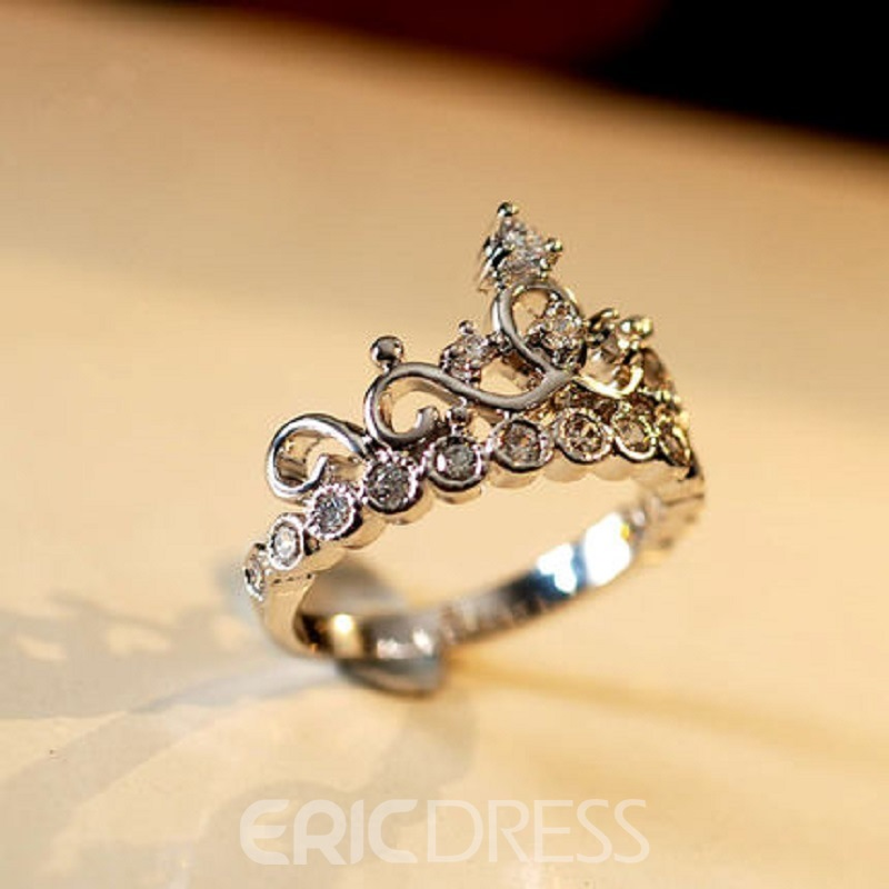 Classy Crown Silver Ring With Rhinestone