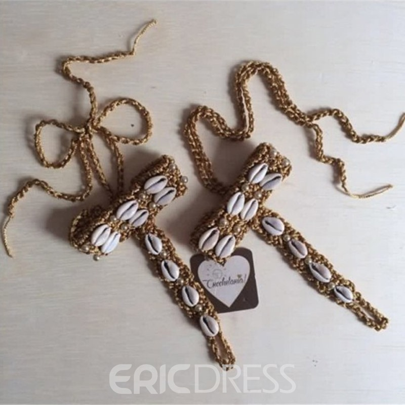 Ericdress Crochet Design Shells Beaded Anklets(Price for One Pair)