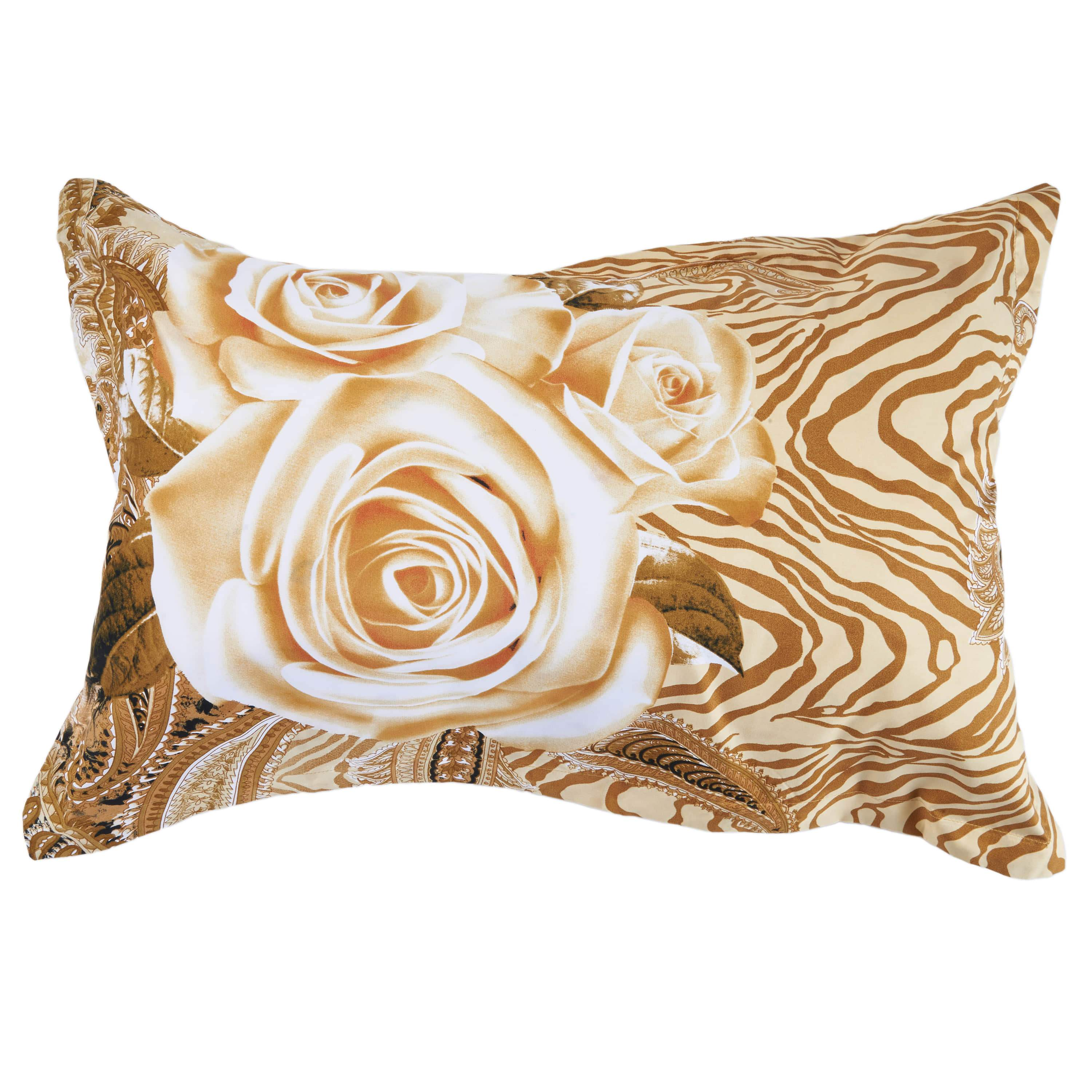 Champagne Rose Luxury Golden Rose Printing 4-Piece Duvet Cover Sets