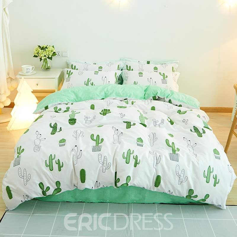 Vivilinen Green Painting Cactus Printed Fresh Style Cotton 4-Piece White Bedding Sets