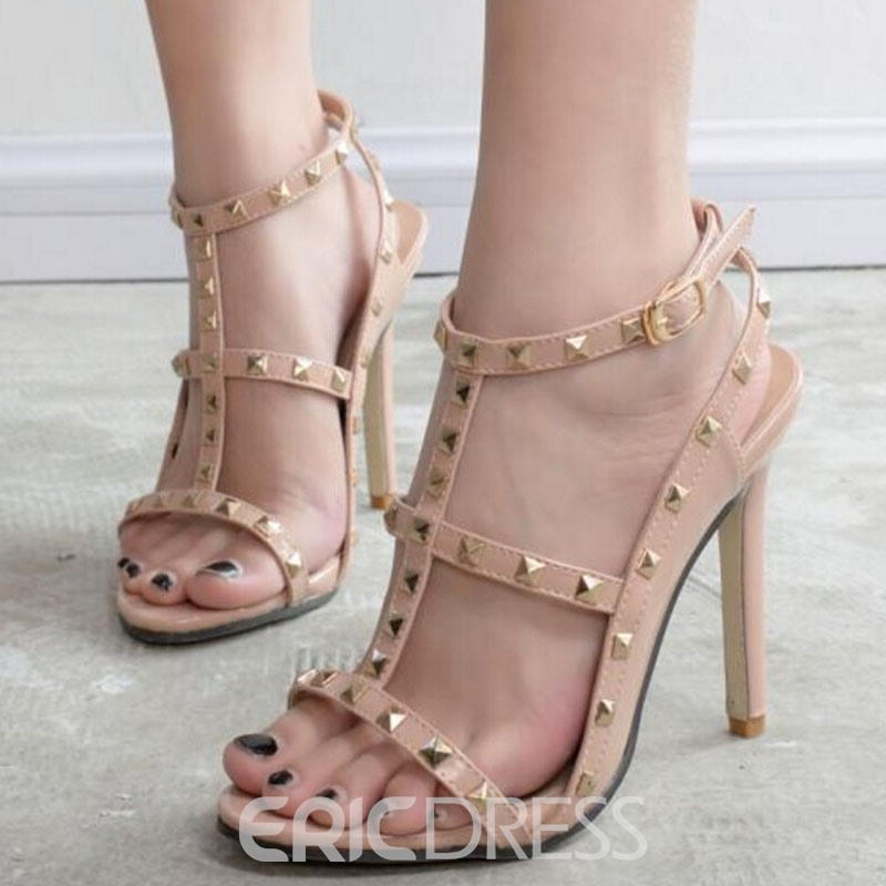 Ericdress T Strap Rivets Decorated Stiletto Sandals