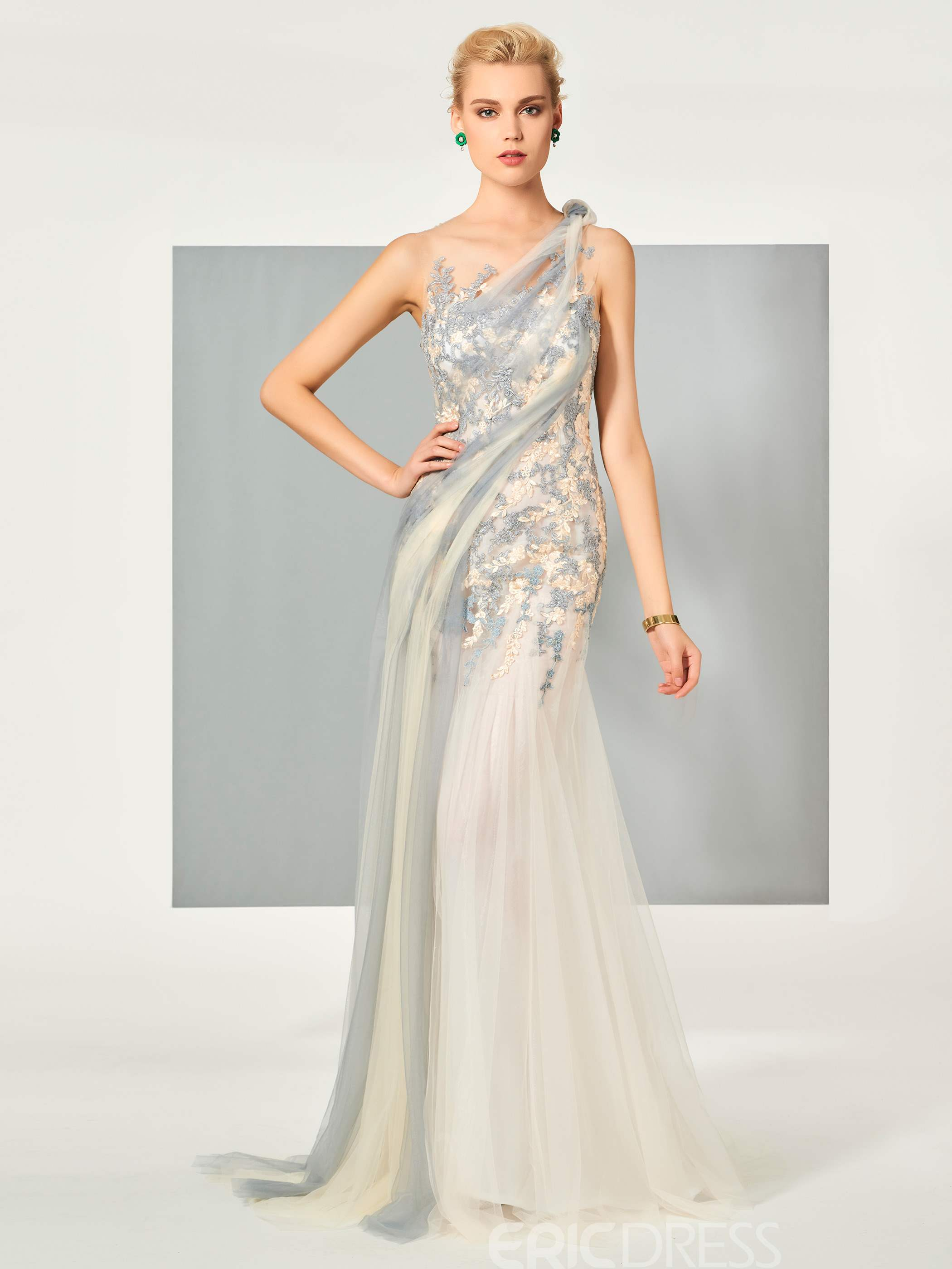 Ericdress A Line Scoop Neck Applique Floor Length Evening Dress