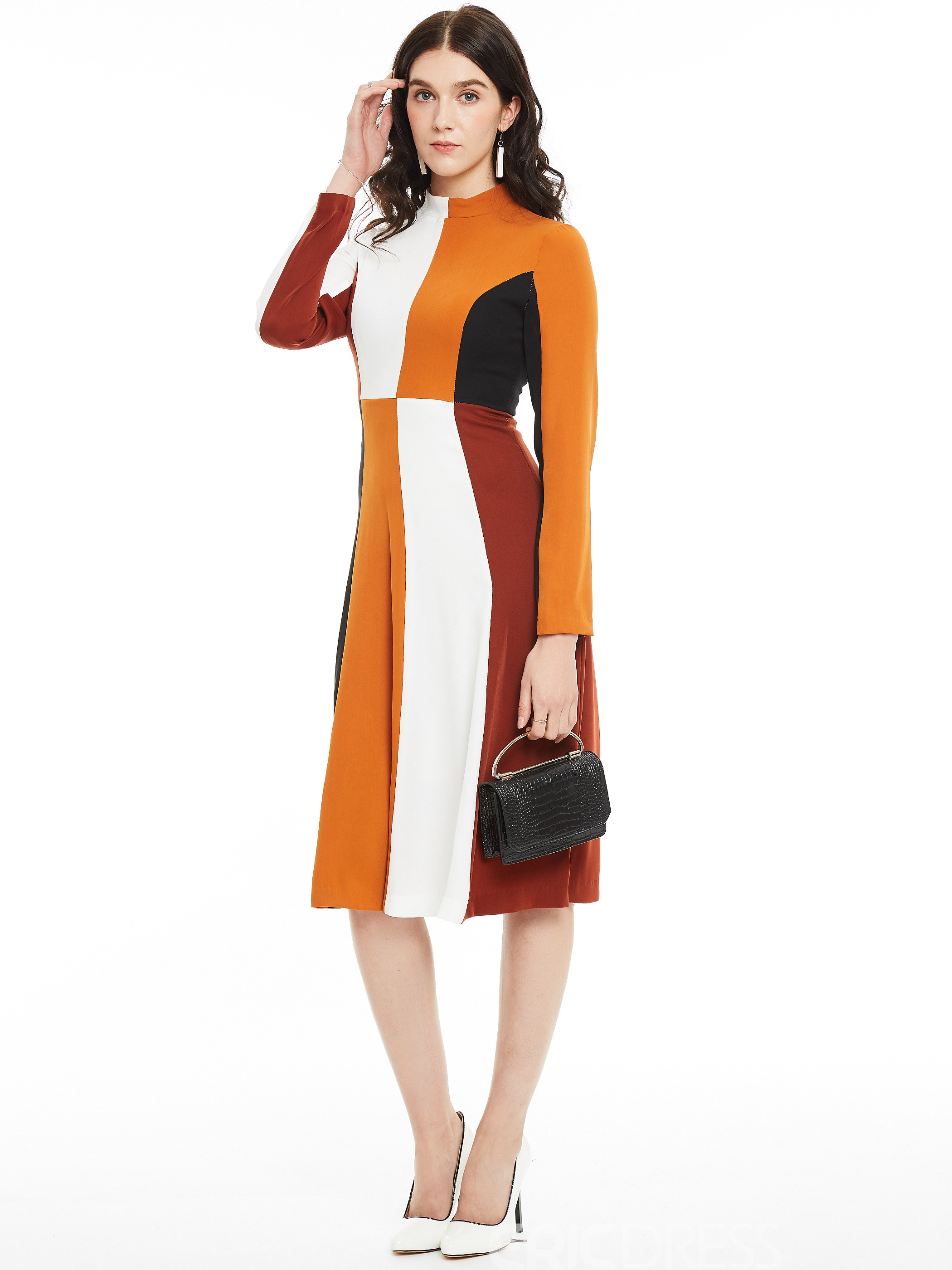 Ericdress Stand Collar Color Block A Line Dress