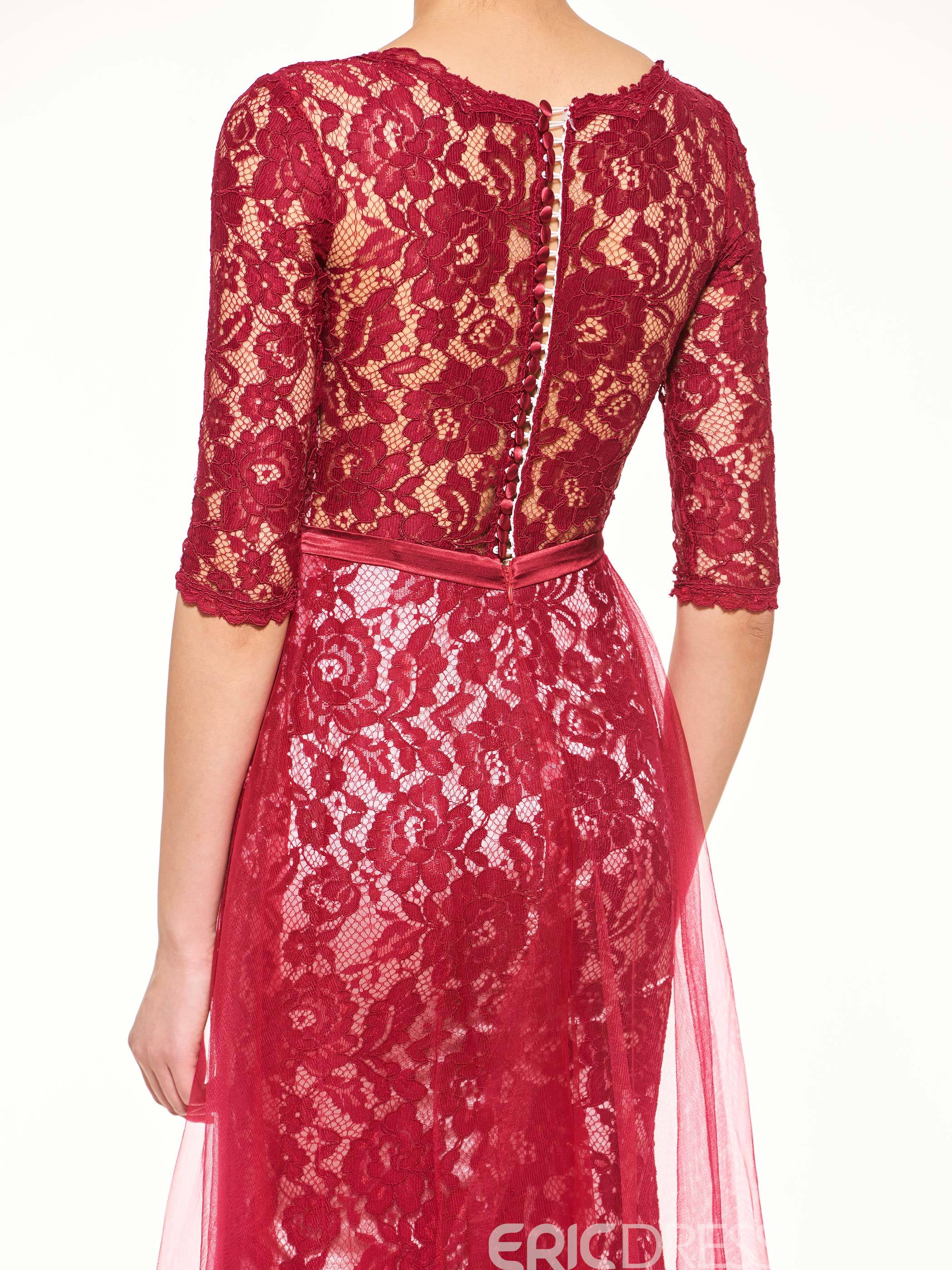 Ericdress Elegant Half Sleeves Sheath Lace Long Mother Of The Bride Dress