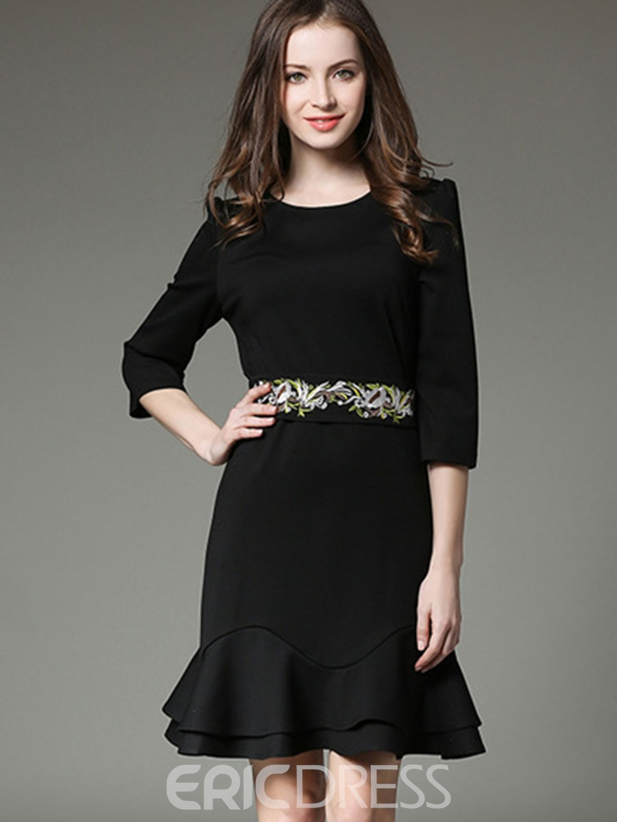 Ericdress 3/4 Sleeve Embroidery Falbala Bodycon Dress