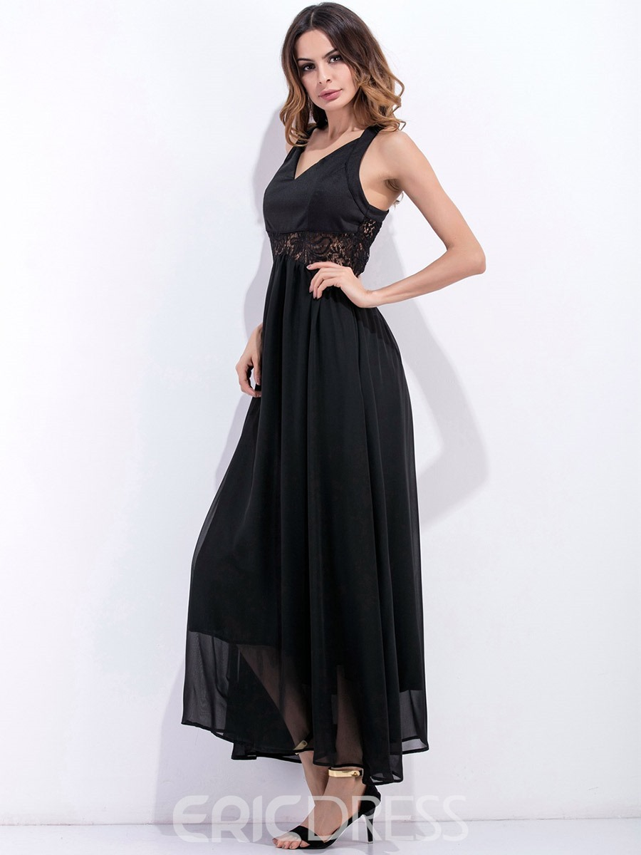 Ericdress Spaghetti Strap V-Neck Back Cross Maxi Dress