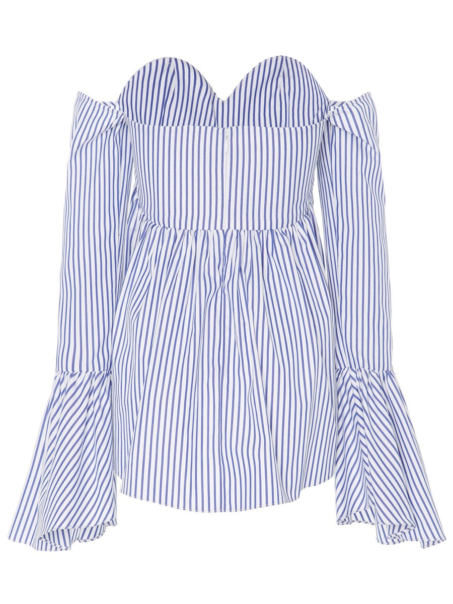 Ericdress Stripped Trumpet Slash Bell Sleeve Blouse