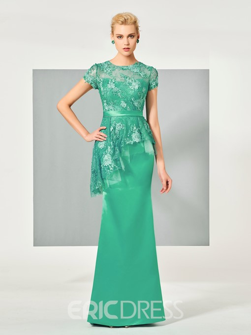 Ericdress Sheath Short Sleeve Lace Applique Floor Length Evening Dress
