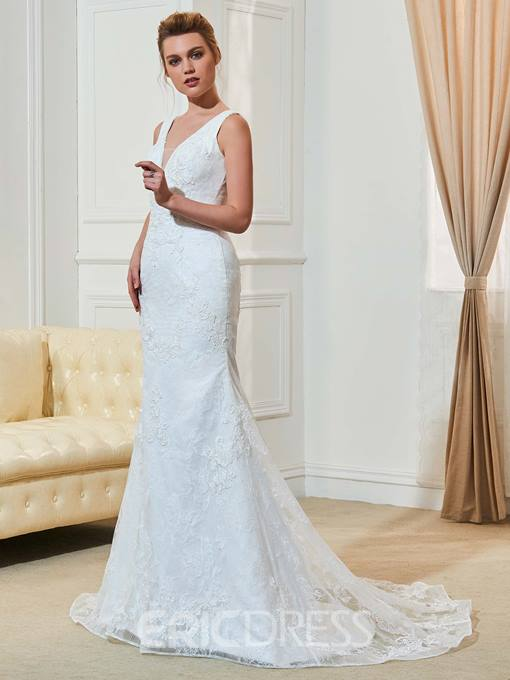 Ericdress Sexy Mermaid Lace Backless Wedding Dress