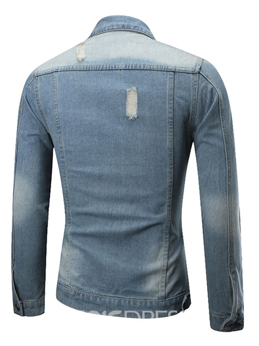 Ericdress Denim Patched Pocket Casual Men's Shirt