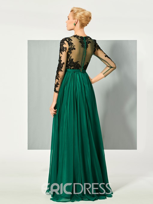 Ericdress A Line Long Sleeve Lace Applique Floor Length Long Evening Dress