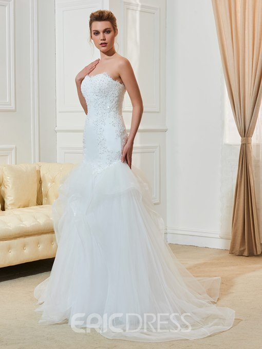 Ericdress Sweetheart Mermaid Appliques Beaded Tulle Wedding Dress