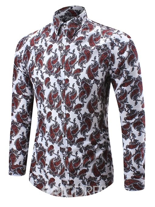 Ericdress Large Size Casual Print Men's Shirt