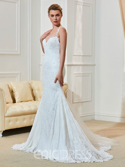 Ericdress High Quality Lace Mermaid Illusion Backless Straps Wedding Dress