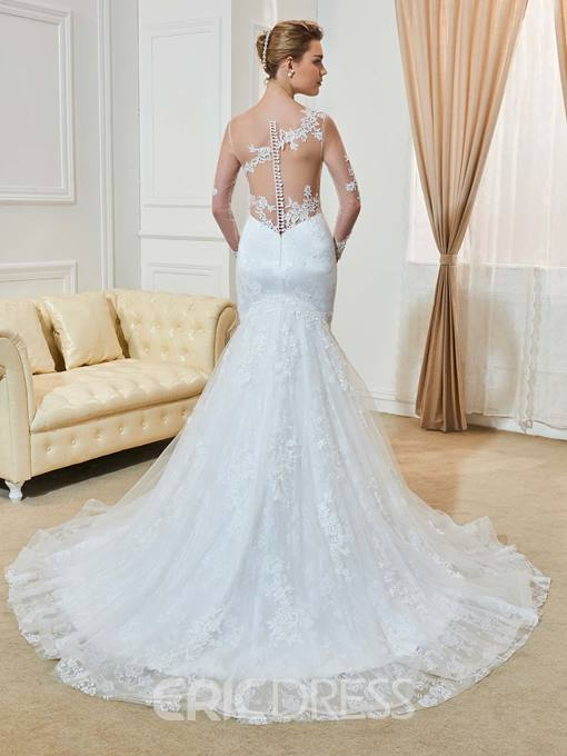 Ericdress Amazing Scoop Appliques Long Sleeves Mermaid Wedding Dress
