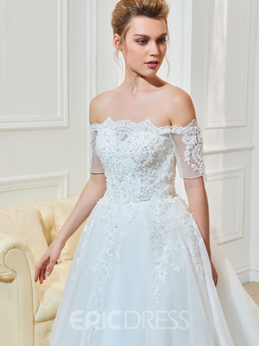 Ericdress Elegant Appliques Beaded Off The Shoulder Wedding Dress With Sleeves